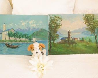 Pair of vintage Italian oil paintings Original oil paintings Vintage oil paintings Pair of landscape oil paintings Italian lakes paintings