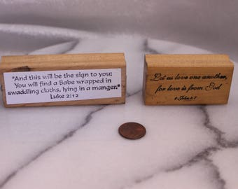 Set of Two Prayer Word Wood Stamps for Scrapbooking or Card Making Altered Art Religious