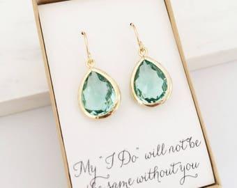 Erinite Gold Teardrop Earrings, Bridesmaid Gift Jewelry, Green Bridesmaid Earrings, Green Gold Earrings, Green Earrings, Gold Prasiolite