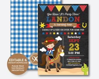 Cowboy invitations Etsy