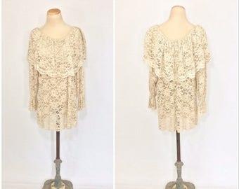 ON SALE 90s Sheer Lace VICTORIAS Secret Angel Dress Romantic Lacey Ruffle Cape Dress Feminine Ethereal Mini Dress Antique Lace Cream Long Sl