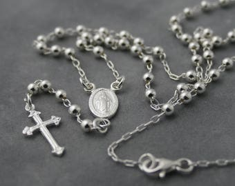 Rosary Necklace Quality Rosary Dainty Necklace Rosary Chain Dainty Cross necklace delicate gift for her sterling silver Silver jewelry