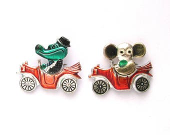 Cheburashka and Crocodile Gena in red cars, Character, Cartoon, Vintage collectible badge, Soviet Vintage Pin, Set of 2 pins, Made in USSR