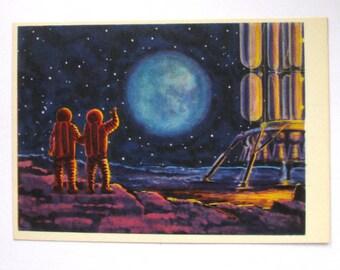 Space, Unused Postcard, The Man on the Moon, Cosmonaut, Painting, Sokolov, Illustration, Unsigned, Rare Soviet Vintage Postcard, USSR, 1966