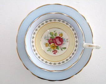Royal Stafford England Bone China Footed Tea Cup and Saucer Set