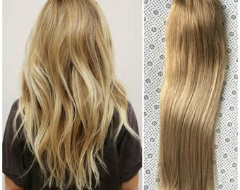 Full Head Dip dye Clip in Human Hair extensions Ombre 6 Pcs Dark blonde to light blonde