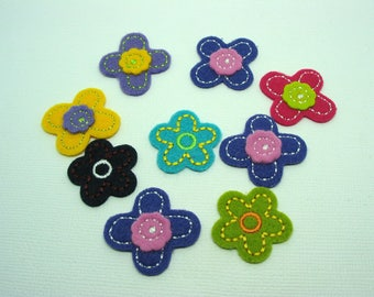 Set of 9 applications clothing patch felt flowers