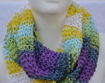 Loop snood scarf Loop scarf summer loop vegan colorful striped knitted by hand