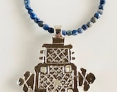 Africa Inspired Long Blue Lapis Lazuli and Silver Cross Necklace