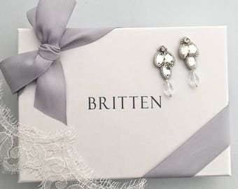 Clementine Earrings Silver, Ivory and Crystal - Britten Weddings - Sample Sale