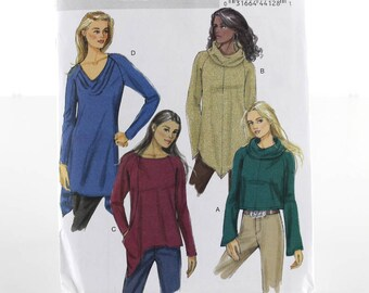 Stretch Knits Pullover Top Sewing Pattern, Uncut Sewing Pattern, Butterick B5679, Size SM-Med