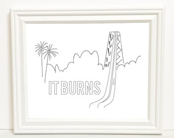 It Burns (Frank on the Water Slide) - Digital Art