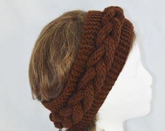 Cable Knit Headband, Hand Knit Winter Headband, Turban, Womens Chunky Ear Warmer, Valentines Day Gift Idea