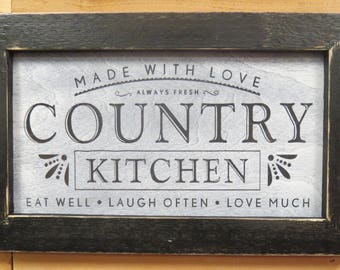 Framed Country Kitchen Sign, Farmhouse Kitchen Decor, Home Decor, Wall  Hanging, Farmhouse
