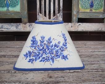 Vintage Hand Painted Lamp Shade - Blue - Cream - Flowers - Birds