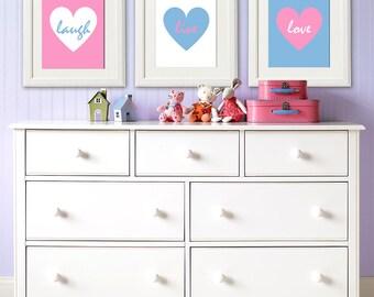 Pink and french blue heart wall art print set -UNFRAMED- teen girl wall art, teenage girl room decor, live, love, laugh, hearts