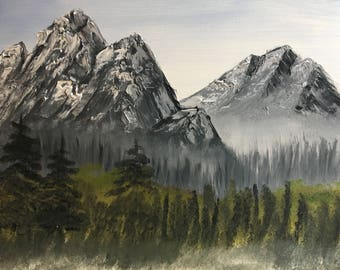 Gray mountains with Distant Trees