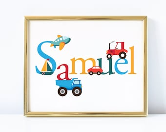 Boy's Name Art - Printable Art - Nursery Art - DIY Art - Cars, planes, tractors and trucks, Wall Art for Boys Room