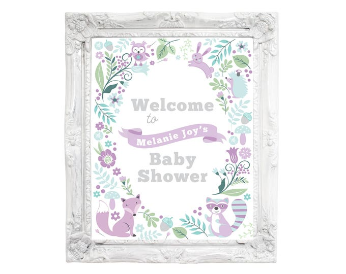 Woodland Baby Welcome Sign / Baby Shower / Baby Girl Shower, Welcome Sign, DIY, Printable, Customized / purple woodland animals