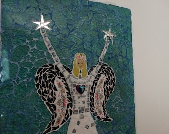 Cottage Angel, quirky, primitive, original design mosaic,vintage china