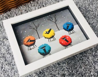Rainbow In The Snow - 3D White Box Framed Quirky Sheep ART Print