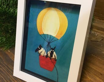 Maiden Voyage - 3D White Box Framed Quirky Sheep ART Print