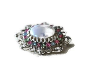 50's Rhinestone and Cabochon Brooch // Vintage Silver Brooch Pearl Detail  Costume Jewellery