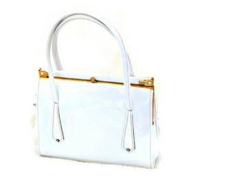 Vintage 1960's White Handbag // Vintage Summer Faux Leather Bag // Top Handle Kelly Bag // Boots Handbag