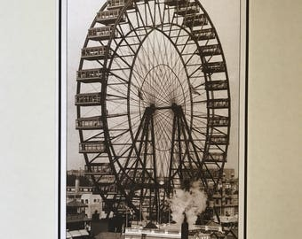 Wall Art, Vintage Poster, The Ferris Wheel at the World's Columbian Exposition, Chicago 1893, reproduction poster 15 1/4 x 30
