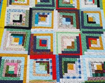 Vintage Quilt-Log Cabin Quilt-Handmade quilt-Hand stitched quilt-Wall quilt-1950's handmade quilt- Like new!