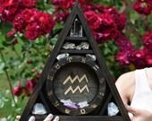 Zodiac Engraved and Inlaid Triangle Crystal Display Shelf