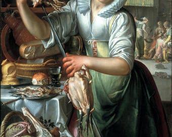 Joachim Wtewael: The Kitchen Maid. Fine Art Print/Poster (004626)