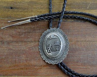 Southwest Sterling Silver Story Teller Bolo Tie Stamped JD
