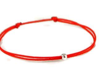 Red String Bracelet. Protection Bracelet. Friendship Bracelet. Men Kabbalah Red String. Luck Fate Wish Bracelet. Silver Bead String Bracelet