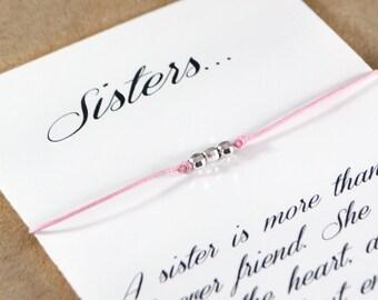 Sterling Silver Beads String Bracelet. Sisters Best Friends Gift. Wish Bracelet for Sisters. Gift for Sister. Silver Nugget Beads Bracelet.