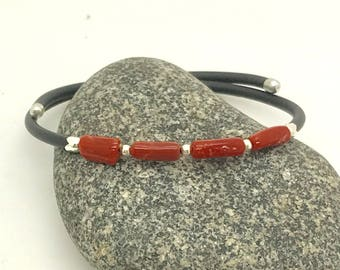 Man full-bodied genuine red coral bracelet