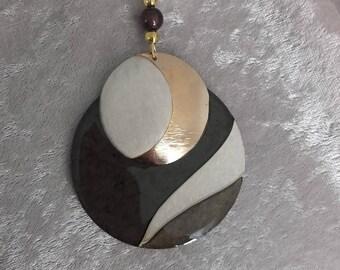 Necklace tie big pendent chocolate brown / ecru gold resin handmade wooden