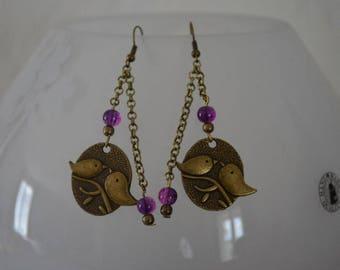 Earrings romantic birds