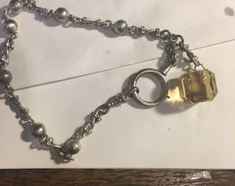 "Ladies silver albert watch chain with gem fob. 10"" long. Tested as 800 silver"