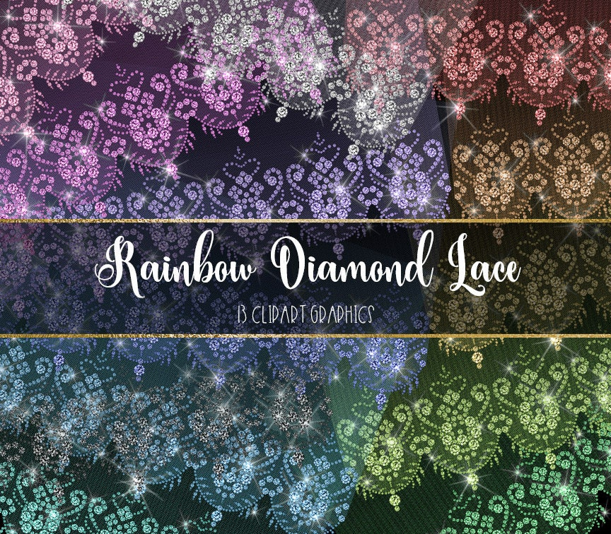 Rainbow diamond lace clipart white diamond wedding lace for Border lace glam