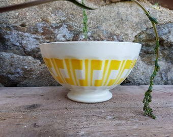 Large cafe au lait bowl Digoin & Sarreguemines coffee french vintage white yellow 1800 tea hot chocolate, perfect condition