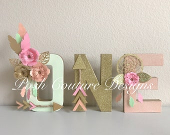 Boho Letters/ Boho One Letters/ Tribal Letters/ Wild ONE Letters/ Boho Baby Shower/ Boho Bridal Shower/ Boho Centerpiece/ One Letters
