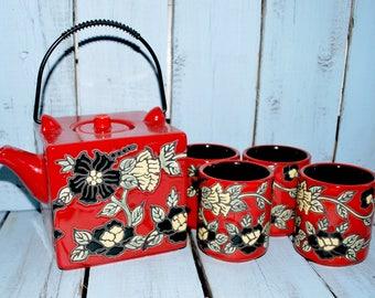 Teapot and Cups, Red and Black, Japanese Style Tea Set, Vintage Ceramic Tea Pot, Serving Tea, Wedding Gift Idea