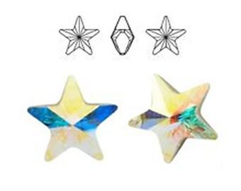Swarovski 4825 10mm ab/crystal aurore boreale star. Price for 10 pieces
