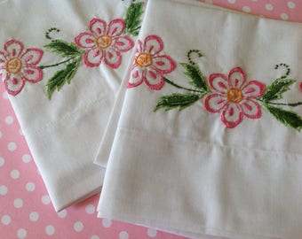 Pair of floral embroidered pillowcases, NOS pillowcases, pink flower pillowcases, pink pillowcases, shabby chic, cottage, farmhouse