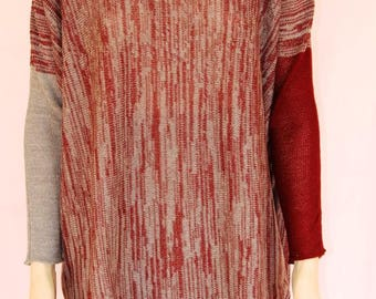 Long knit tunic with different color sleeves Tunic black and grey , sleeves of different colors. Cocoon tunic. Tunic length. Oversize