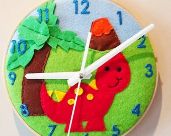 Dinosaur Clock, Felt Dinosaur Clock, Dinosaur Decor, Felt Clock, Personalised Clock,