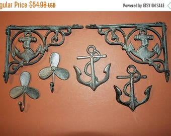 13% OFF 6) pcs, Antique-look Nautical Home Decor, Sailboat, Propeller, Anchor, Shelf Brackets, Wall Hooks, Boathouse Decor, Free Shipping