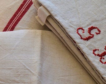 3 vintage french kitchen towels, 100% linen made in France, 1900s