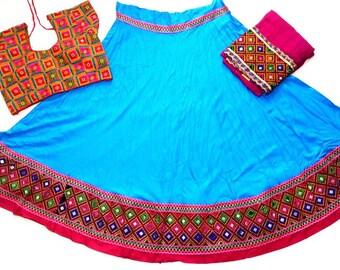 Navratri chaniya choli blue colour with embroidery work Lehenga Choli by Indian Designer.